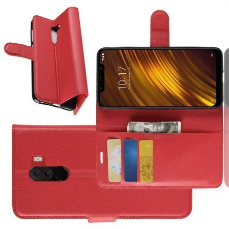 Флип чехол книжка с кошельком подставкой отделениями для карт и магнитной застежкой для Xiaomi Pocophone F1 Красный