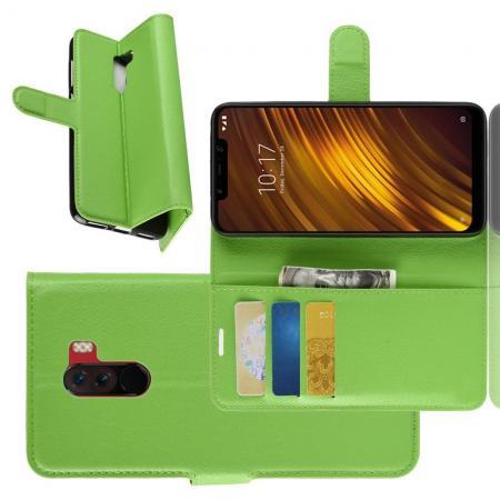 Флип чехол книжка с кошельком подставкой отделениями для карт и магнитной застежкой для Xiaomi Pocophone F1 Зеленый