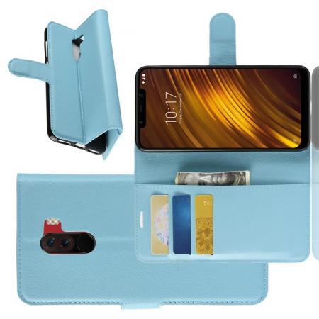 Флип чехол книжка с кошельком подставкой отделениями для карт и магнитной застежкой для Xiaomi Pocophone F1 Голубой