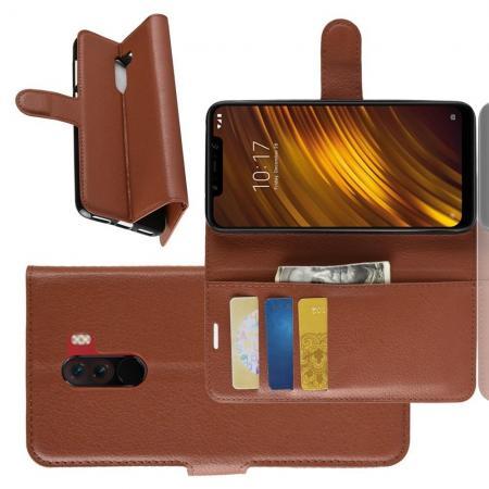 Флип чехол книжка с кошельком подставкой отделениями для карт и магнитной застежкой для Xiaomi Pocophone F1 Коричневый