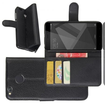 Флип чехол книжка с кошельком подставкой отделениями для карт и магнитной застежкой для Xiaomi Redmi 4X Черный