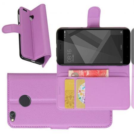 Флип чехол книжка с кошельком подставкой отделениями для карт и магнитной застежкой для Xiaomi Redmi 4X Фиолетовый