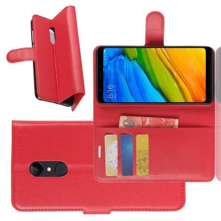 Флип чехол книжка с кошельком подставкой отделениями для карт и магнитной застежкой для Xiaomi Redmi 5 Красный