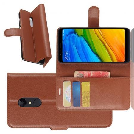 Флип чехол книжка с кошельком подставкой отделениями для карт и магнитной застежкой для Xiaomi Redmi 5 Коричневый