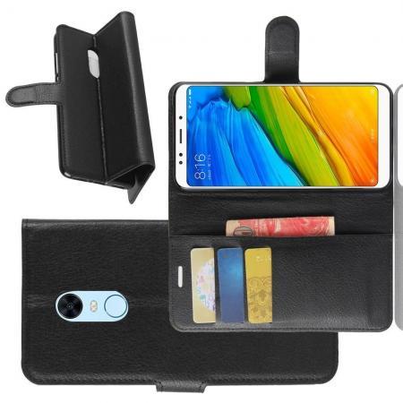 Флип чехол книжка с кошельком подставкой отделениями для карт и магнитной застежкой для Xiaomi Redmi 5 Plus Черный