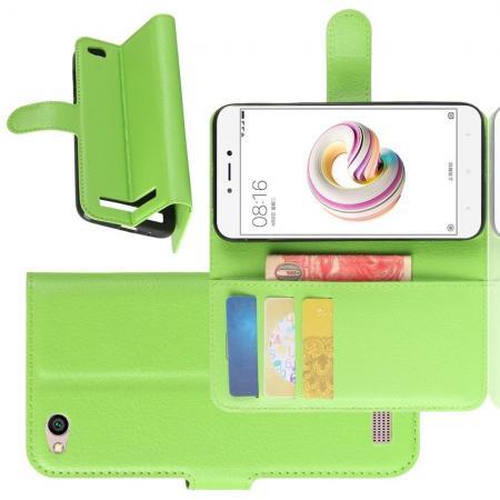 Флип чехол книжка с кошельком подставкой отделениями для карт и магнитной застежкой для Xiaomi Redmi 5a Зеленый