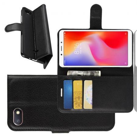 Флип чехол книжка с кошельком подставкой отделениями для карт и магнитной застежкой для Xiaomi Redmi 6A Черный