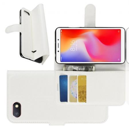 Флип чехол книжка с кошельком подставкой отделениями для карт и магнитной застежкой для Xiaomi Redmi 6A Белый