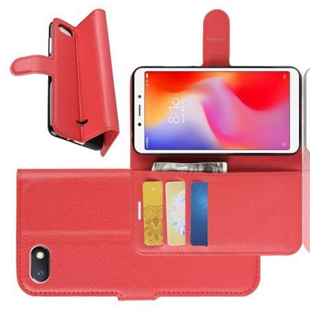 Флип чехол книжка с кошельком подставкой отделениями для карт и магнитной застежкой для Xiaomi Redmi 6A Красный