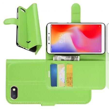 Флип чехол книжка с кошельком подставкой отделениями для карт и магнитной застежкой для Xiaomi Redmi 6A Зеленый