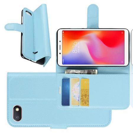 Флип чехол книжка с кошельком подставкой отделениями для карт и магнитной застежкой для Xiaomi Redmi 6A Голубой
