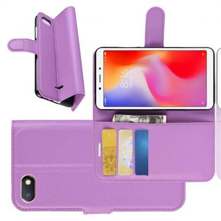 Флип чехол книжка с кошельком подставкой отделениями для карт и магнитной застежкой для Xiaomi Redmi 6A Фиолетовый