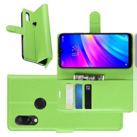 Флип чехол книжка с кошельком подставкой отделениями для карт и магнитной застежкой для Xiaomi Redmi 7 Зеленый