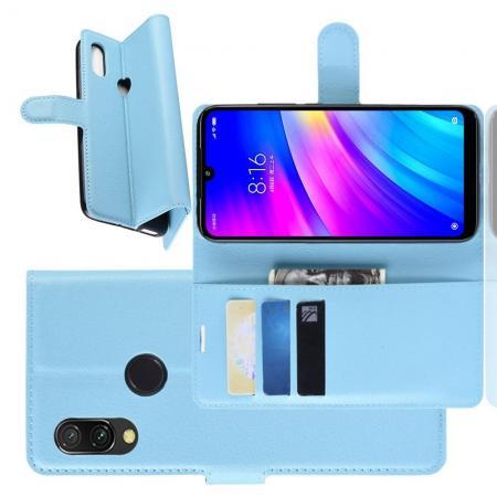 Флип чехол книжка с кошельком подставкой отделениями для карт и магнитной застежкой для Xiaomi Redmi 7 Голубой