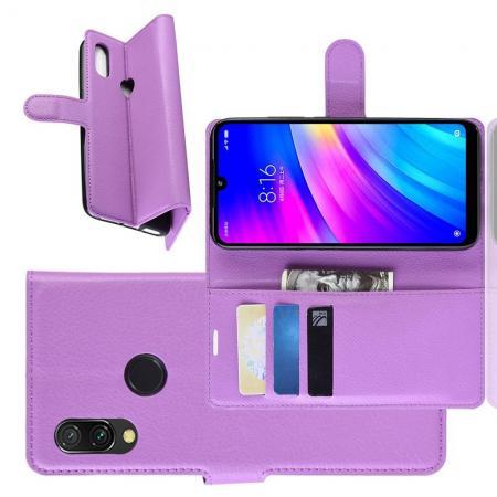 Флип чехол книжка с кошельком подставкой отделениями для карт и магнитной застежкой для Xiaomi Redmi 7 Фиолетовый
