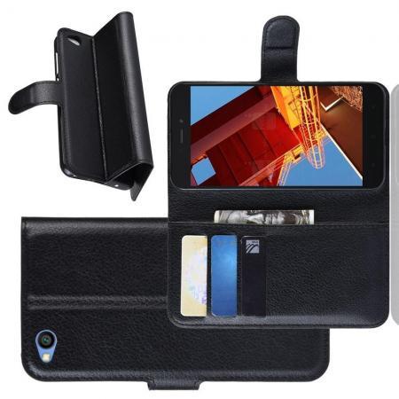 Флип чехол книжка с кошельком подставкой отделениями для карт и магнитной застежкой для Xiaomi Redmi Go Черный