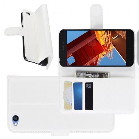 Флип чехол книжка с кошельком подставкой отделениями для карт и магнитной застежкой для Xiaomi Redmi Go Белый
