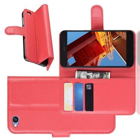 Флип чехол книжка с кошельком подставкой отделениями для карт и магнитной застежкой для Xiaomi Redmi Go Красный