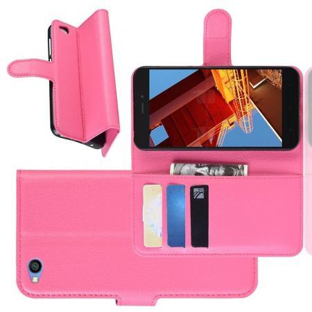 Флип чехол книжка с кошельком подставкой отделениями для карт и магнитной застежкой для Xiaomi Redmi Go Розовый