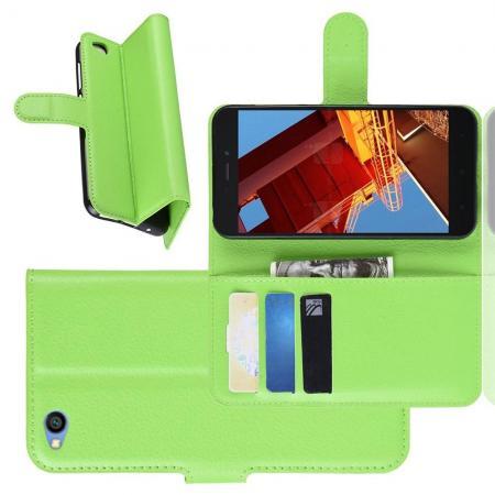 Флип чехол книжка с кошельком подставкой отделениями для карт и магнитной застежкой для Xiaomi Redmi Go Зеленый