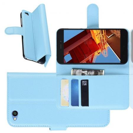 Флип чехол книжка с кошельком подставкой отделениями для карт и магнитной застежкой для Xiaomi Redmi Go Голубой