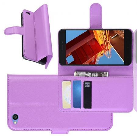 Флип чехол книжка с кошельком подставкой отделениями для карт и магнитной застежкой для Xiaomi Redmi Go Фиолетовый