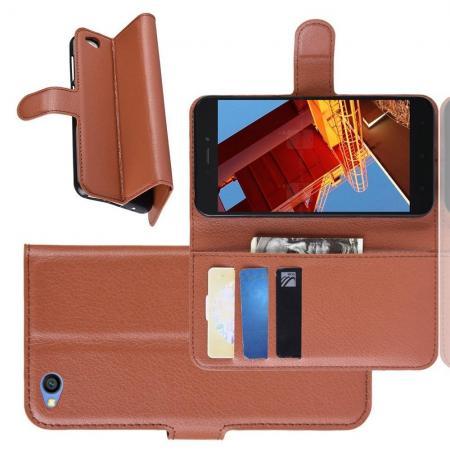 Флип чехол книжка с кошельком подставкой отделениями для карт и магнитной застежкой для Xiaomi Redmi Go Коричневый