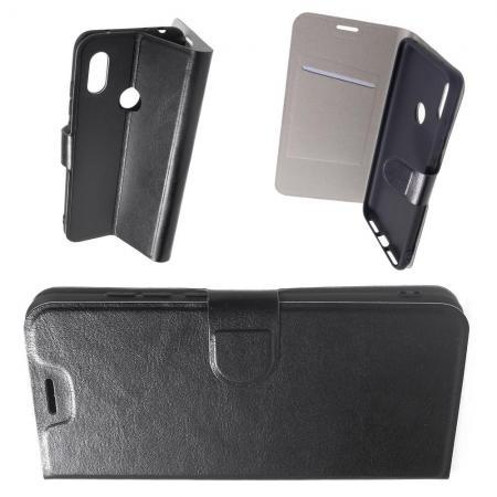 Флип чехол книжка с кошельком подставкой отделениями для карт и магнитной застежкой для Xiaomi Redmi Note 6 / Note 6 Pro Черный