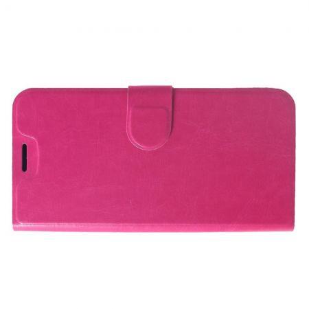 Флип чехол книжка с кошельком подставкой отделениями для карт и магнитной застежкой для Xiaomi Redmi Note 6 / Note 6 Pro Розовый