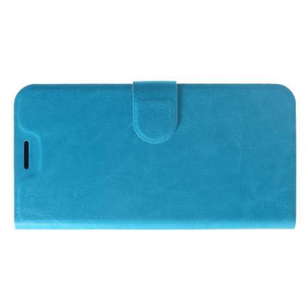 Флип чехол книжка с кошельком подставкой отделениями для карт и магнитной застежкой для Xiaomi Redmi Note 6 / Note 6 Pro Голубой