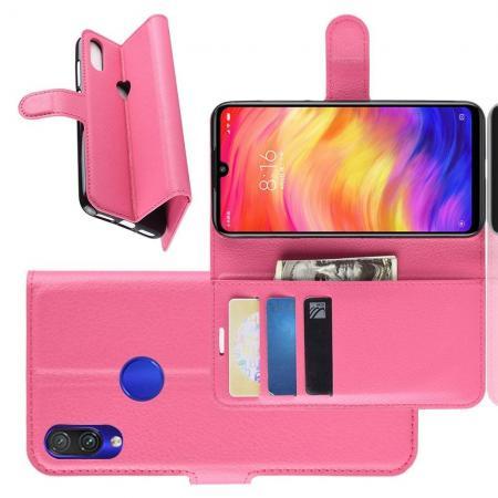Флип чехол книжка с кошельком подставкой отделениями для карт и магнитной застежкой для Xiaomi Redmi Note 7 / Note 7 Pro Розовый