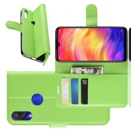 Флип чехол книжка с кошельком подставкой отделениями для карт и магнитной застежкой для Xiaomi Redmi Note 7 / Note 7 Pro Зеленый
