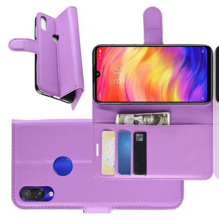 Флип чехол книжка с кошельком подставкой отделениями для карт и магнитной застежкой для Xiaomi Redmi Note 7 / Note 7 Pro Фиолетовый