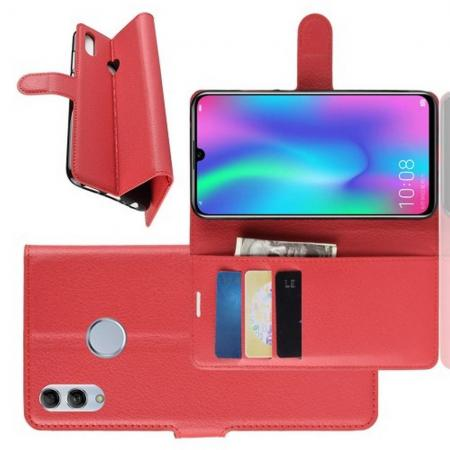 Флип чехол книжка с кошельком подставкой отделениями для карт и магнитной застежкой для Xiaomi Redmi Note 7 / Note 7 Pro Красный