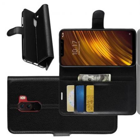 Флип чехол книжка с кошельком подставкой отделениями для карт и магнитной застежкой для Xiaomi Redmi Note 8 Pro Черный