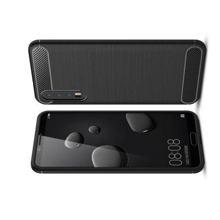 Carbon Fibre Силиконовый матовый бампер чехол для Huawei P20 Pro Черный