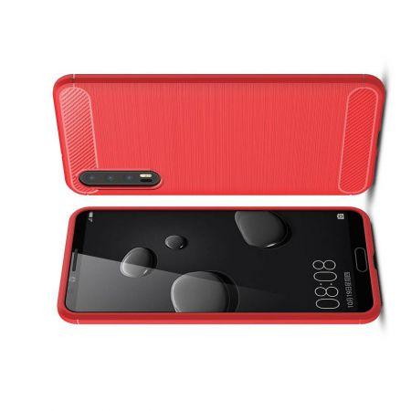 Carbon Fibre Силиконовый матовый бампер чехол для Huawei P20 Pro Красный