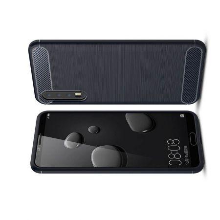 Carbon Fibre Силиконовый матовый бампер чехол для Huawei P20 Pro Синий