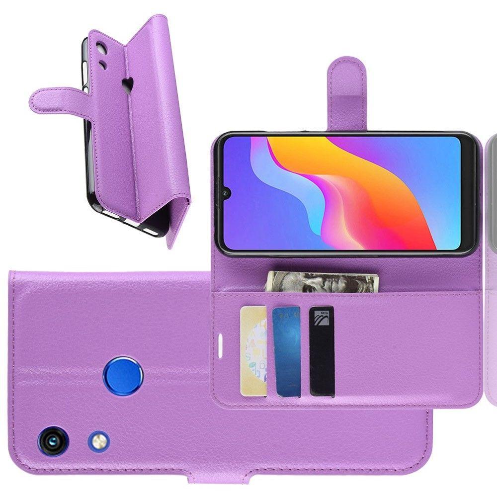 Боковая Чехол Книжка Кошелек с Футляром для Карт и Застежкой Магнитом для Huawei Honor 8A Фиолетовый