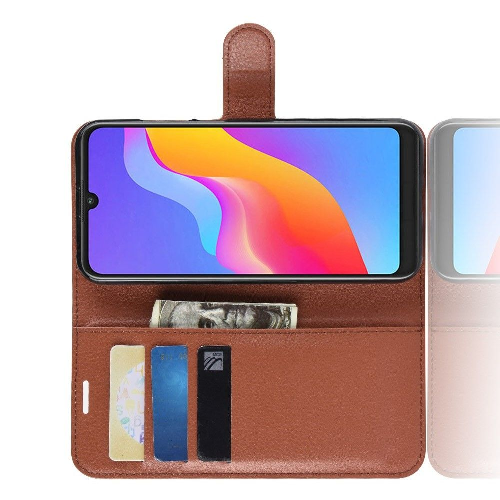Боковая Чехол Книжка Кошелек с Футляром для Карт и Застежкой Магнитом для Huawei Honor 8A Коричневый