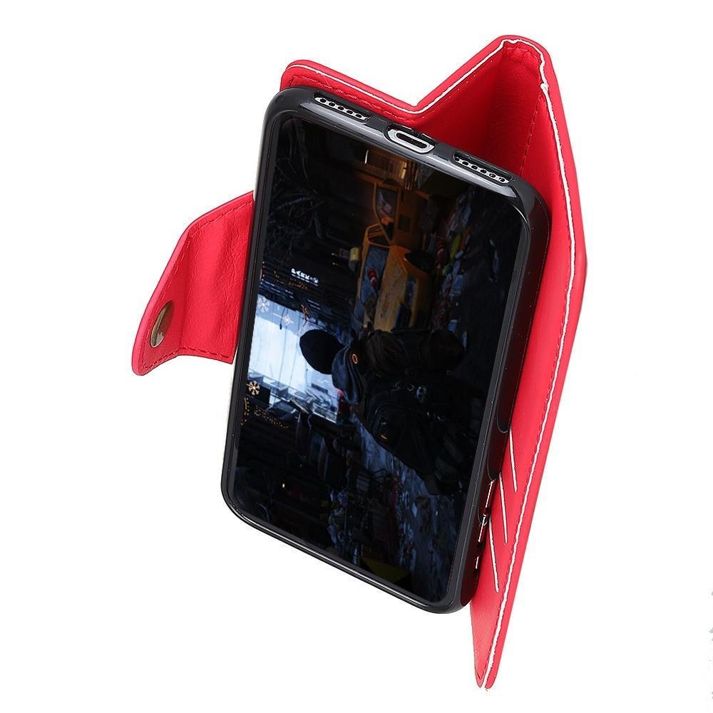 Боковая Чехол Книжка Кошелек с Футляром для Карт и Застежкой Магнитом для Huawei Honor 8X Красный