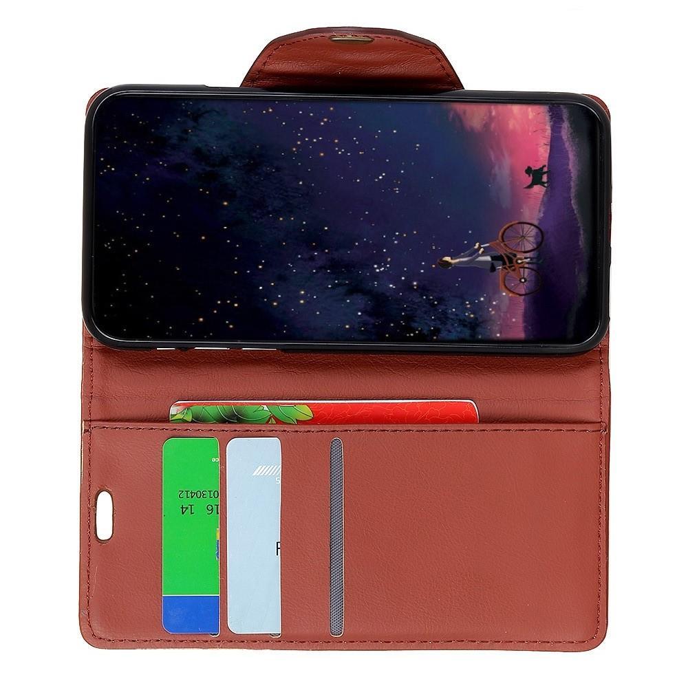 Боковая Чехол Книжка Кошелек с Футляром для Карт и Застежкой Магнитом для Huawei Honor 8X Коричневый