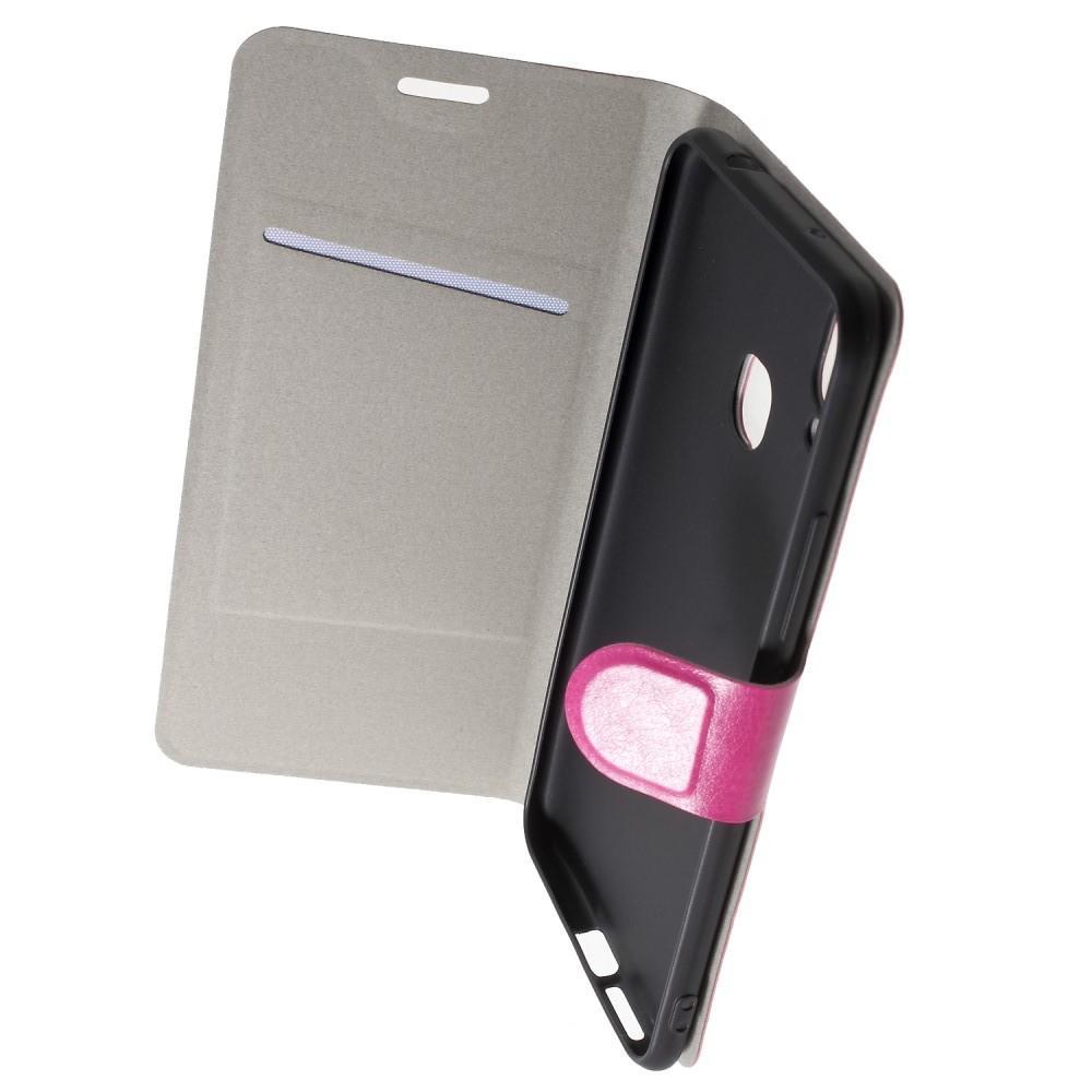 Боковая Чехол Книжка Кошелек с Футляром для Карт и Застежкой Магнитом для Huawei Honor Play Розовый