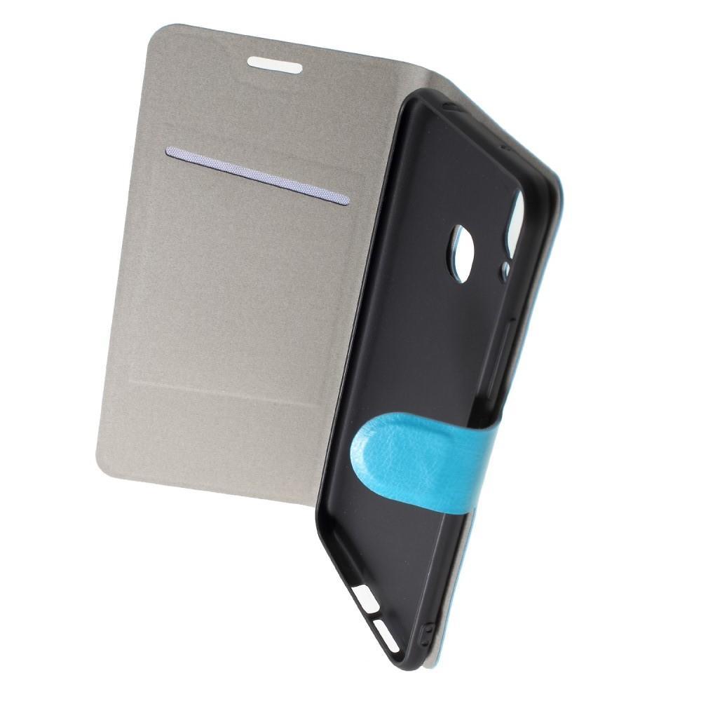 Боковая Чехол Книжка Кошелек с Футляром для Карт и Застежкой Магнитом для Huawei Honor Play Голубой