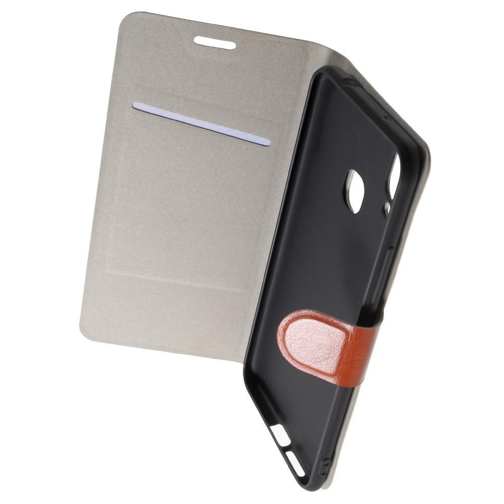 Боковая Чехол Книжка Кошелек с Футляром для Карт и Застежкой Магнитом для Huawei Honor Play Коричневый