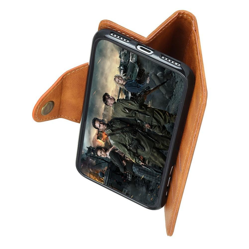 Боковая Чехол Книжка Кошелек с Футляром для Карт и Застежкой Магнитом для Huawei Honor View 20 (V20) Коричневый