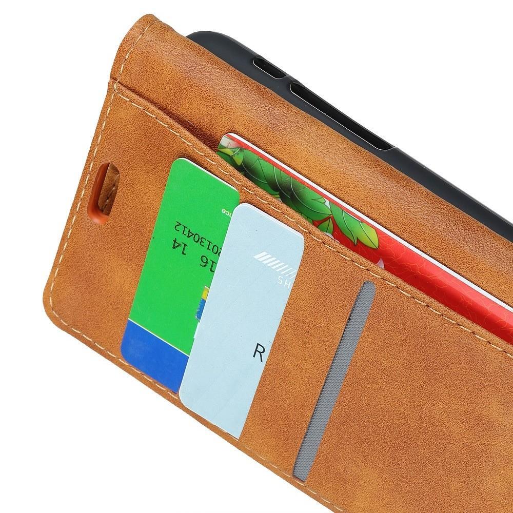 Боковая Чехол Книжка Кошелек с Футляром для Карт и Застежкой Магнитом для Huawei Mate 20 Pro Коричневый