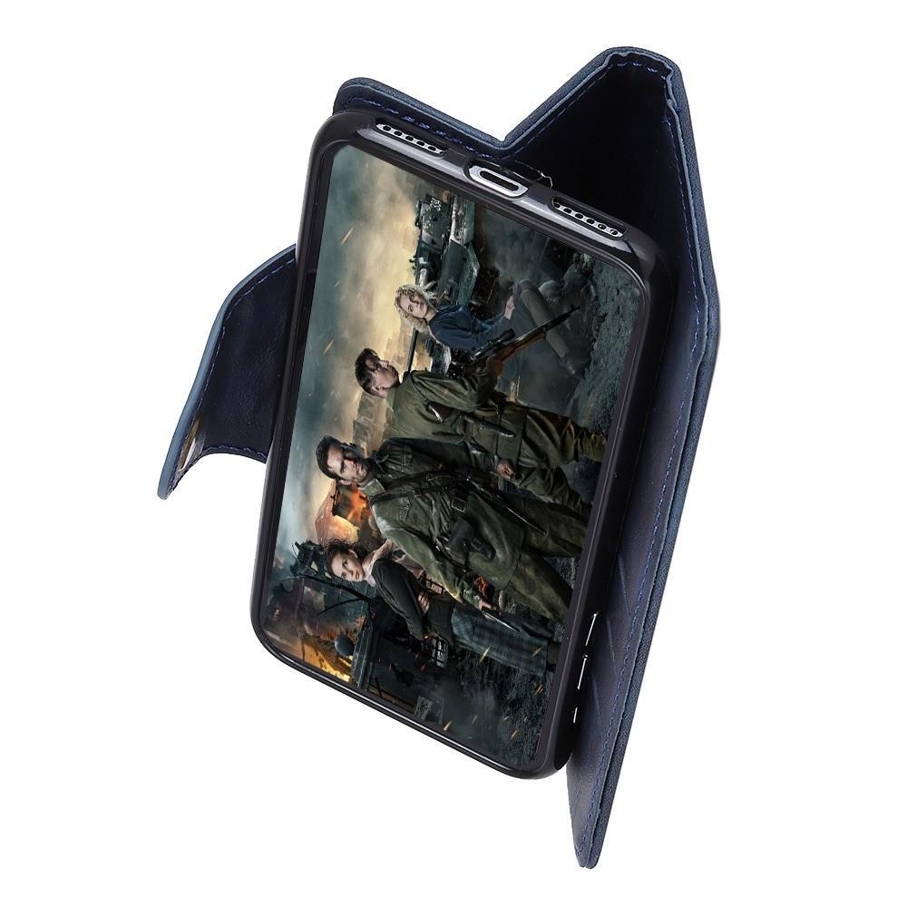 Боковая Чехол Книжка Кошелек с Футляром для Карт и Застежкой Магнитом для Huawei Nova 4 Синий