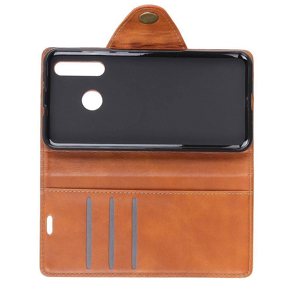 Боковая Чехол Книжка Кошелек с Футляром для Карт и Застежкой Магнитом для Huawei Nova 4 Коричневый