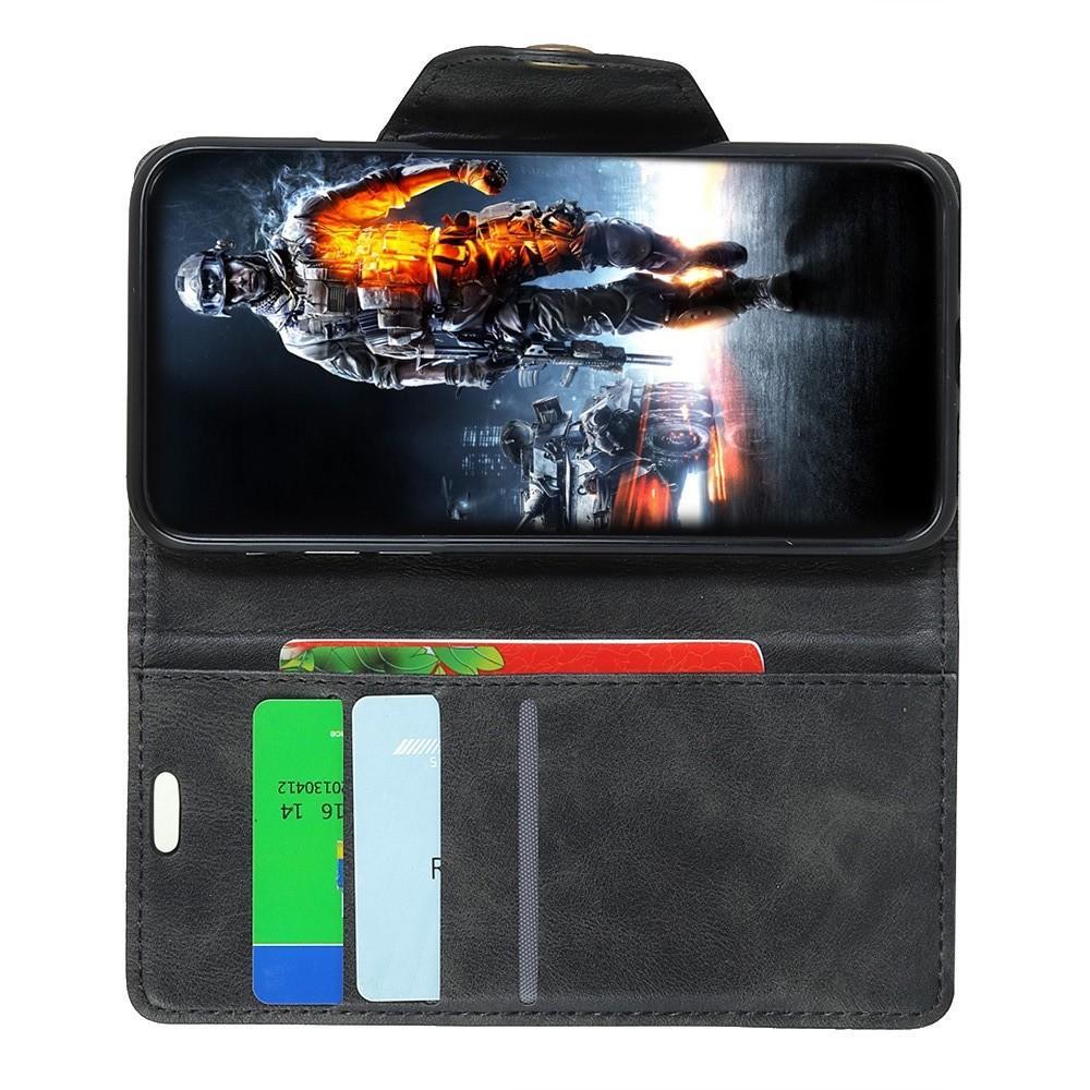 Боковая Чехол Книжка Кошелек с Футляром для Карт и Застежкой Магнитом для Huawei Y7 Pro 2019 Черный
